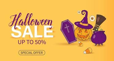 Halloween Sale poster with lettering and objects in sketch vector