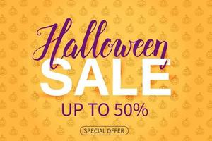 Halloween Sale poster on orange pattern with Jack lamp vector