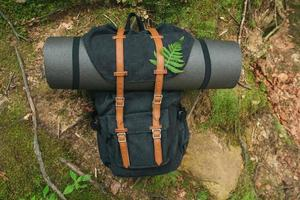 Hipster hiker tourist backpack, traveler relax holiday concept photo