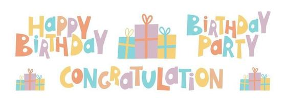 Congratulations colorful with Happy birthday full color vector