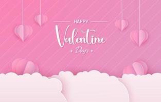 Fondo de saludo de feliz día de San Valentín en estilo realista de papercut vector