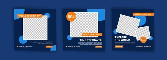 Social media post template for world tourism day promotion. vector