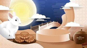 Mid Autumn festival with rabbit and moon, mooncake background. vector