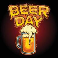 Happy Beer Day Glass Mascot Illustrations vector