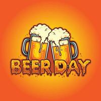 Beer Day Typeface Joint Two Glass Alcohol Vector illustrations