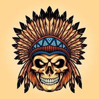 Indian Angry Skull Isolated Illustrations vector