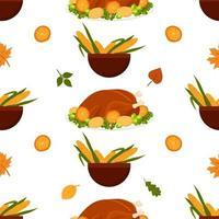 Thanksgiving seamless pattern. Vector cartoon autumn background