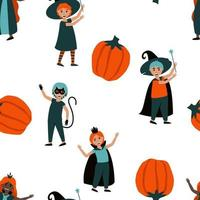 Seamless pattern of boys and girls in Halloween costumes vector