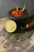 Tasty meal with sambal arrangement photo