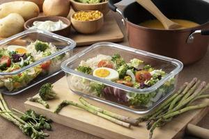 Top view nutrition food meal planning photo