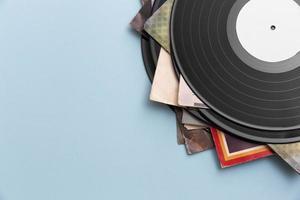arreglo de discos de vinilo de vista superior foto
