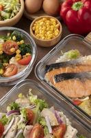 vista superior nutrición alimentos planificación de comidas foto