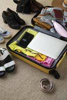The travel suitcase preparations packing photo
