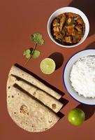 The Indian delicious roti arrangements photo