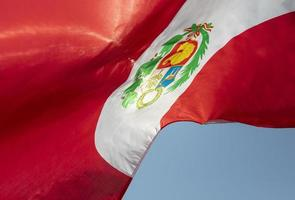 The national Peru flag with symbol photo