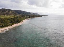 Breathtaking Hawaii landscape with blue sea photo