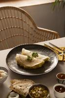 The delicious Indian dosa arrangement photo