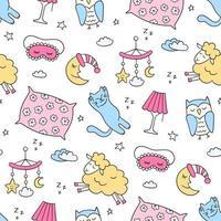 Sleep set in doodle style. Good night symbols moon, lamp, cat, pillow vector