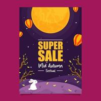 Super Sale Poster for Mid Autumn Festival vector