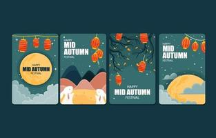 Set of Cards for Mid Autumn Festival vector