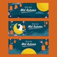 Flash Sale Banner  for Mid Autumn Festival vector