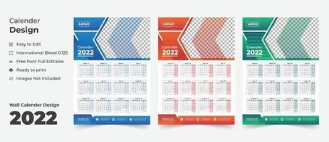 2022 Wall calendar with blue layout,Blue Wall calendar 2022, vector