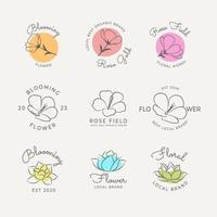Minimalist Line Art Flower Logo Collection vector