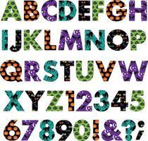 Halloween patterns vector alphabet