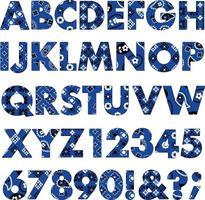 blue bandana patterns alphabet. vector
