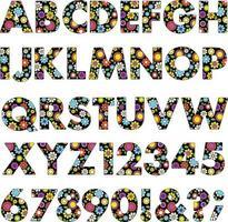 mod neon flowers vector pattern alphabet