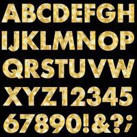 metallic gold snowflake pattern vector alphabet