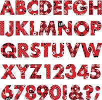 red bandana patterns alphabet vector