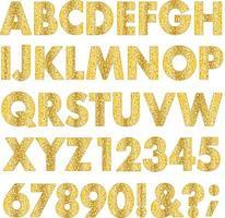 gold metallic glitter effect alphabet vector