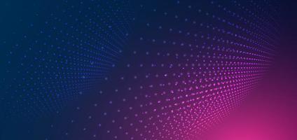 Líneas de partículas futuristas abstractas mallas sobre fondo azul y rosa vector