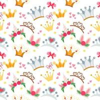 Childish fairy seamless pattern with a crowns vector