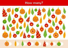 Counting kids game of Christmas ornaments hanging vector