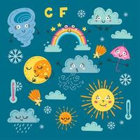 Cute weather set. A forecast meteorology symbols vector
