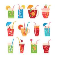 Cartoon set of colorful summer party drinks vector