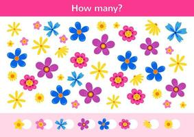 Counting children game of a amazing flowers . vector