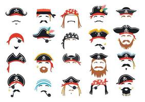 Carnival pirate mask decor. Photo booth props vector