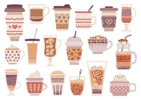 Set of different types of coffee. Menu. vector