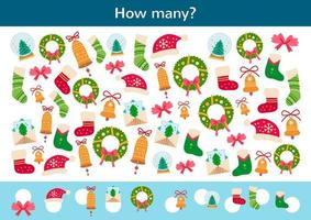 Counting children game of a Christmas decor. vector
