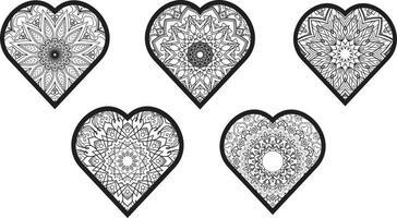 Cute Love Doodles Heart Frame Set Free Vector