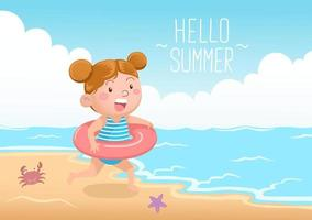 Cute Girl With Swimming Donut At The Beach Hello Summer vector