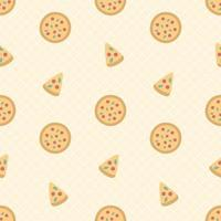 Cute Pizza And Slice Seamless Pattern vector
