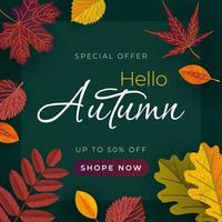 Autumn banner with leaves. Vector template for sale banner