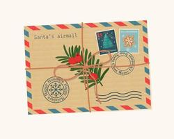 Christmas envelope with seals, stamps, tied with a rope. Vector