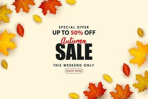 Special Autumn sale with scattered 3d leaves. vector
