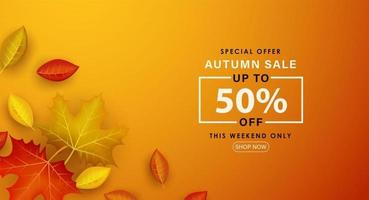 Special Autumn sale with dry leaves falling. vector