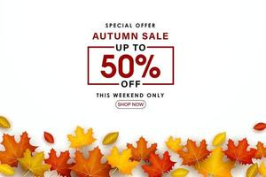 Special Autumn sale with colorful leaves. vector
